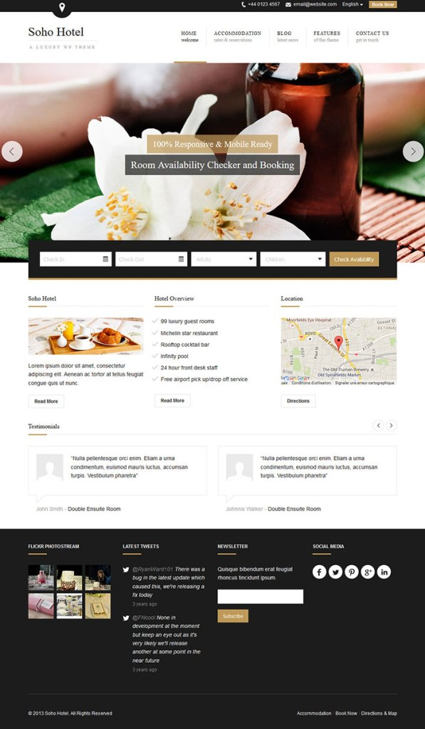 Soho hotel un th me wordpress pour site web d 39 h tel for Site web pour hotel