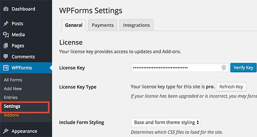 Verification wpforms