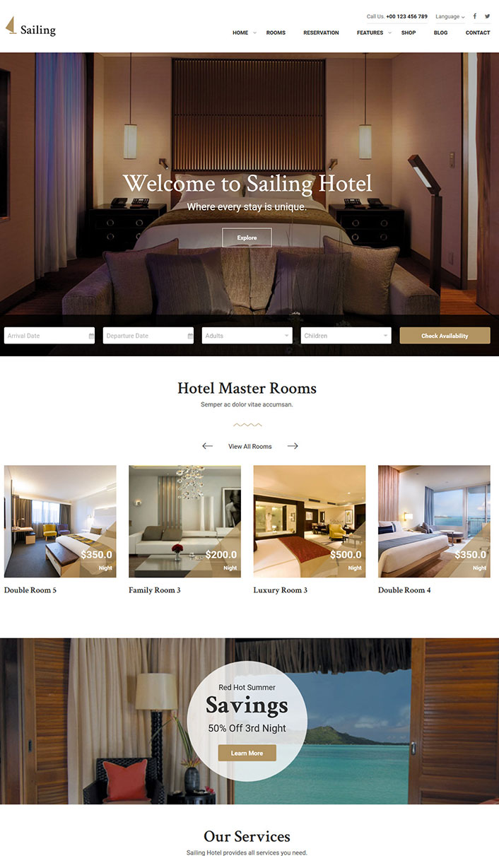 Wordpress hotel theme un th me wordpress pour site web d for Meilleur site pour hotel