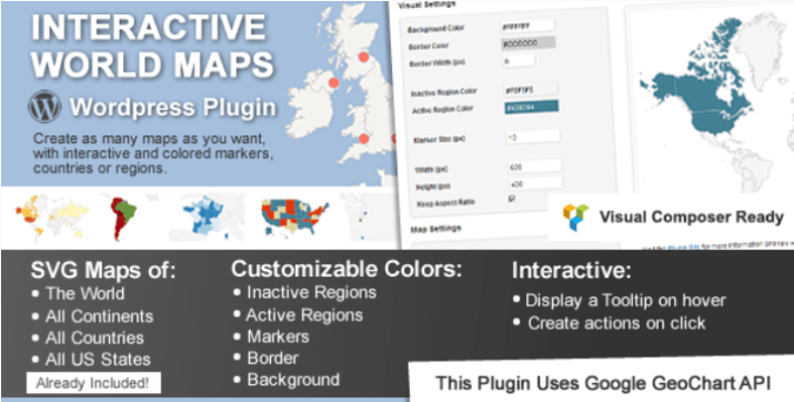 plugins WordPress de géolocalisation - Interactive world maps