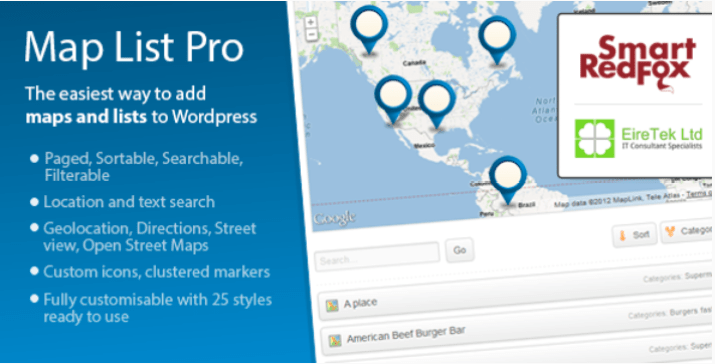 meilleurs plugins WordPress - Map list pro google maps location directories