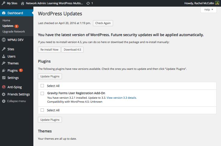 Mise à WordPress WordPress multisite