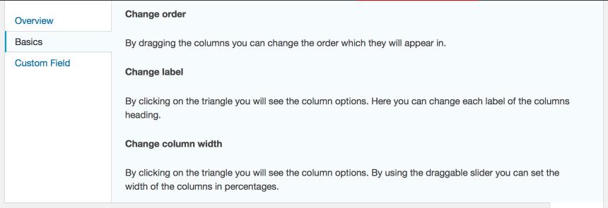 Onglet d'aide Admin Columns WorDPress