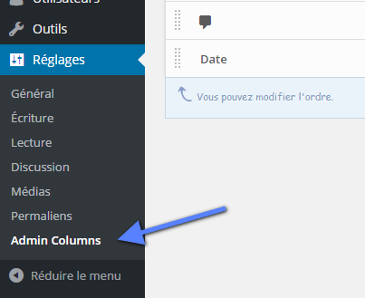 admin column reglages WordPress