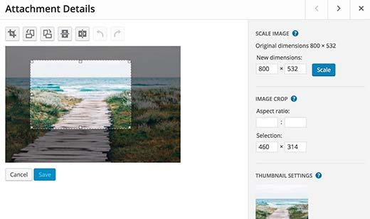 attachement d'image WordPress