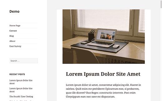 typowe demo zawartości Pasek boczny WordPress