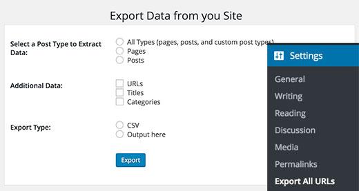 exporter des données réglages plugin export all URLS