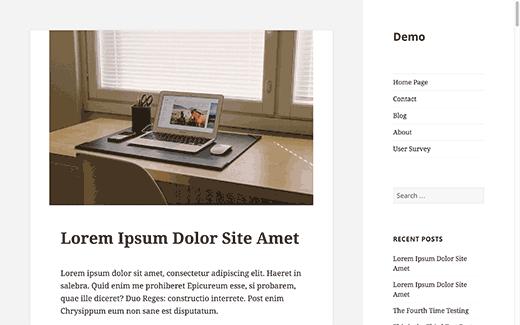 nouvelle apparence site web sidebar sur la droite