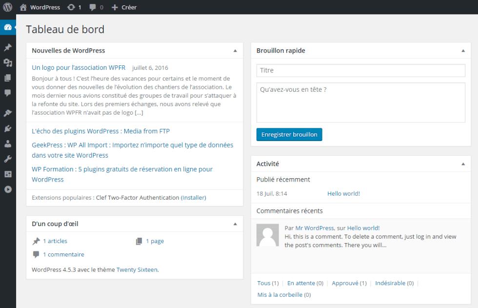 tableau de bord WordPress