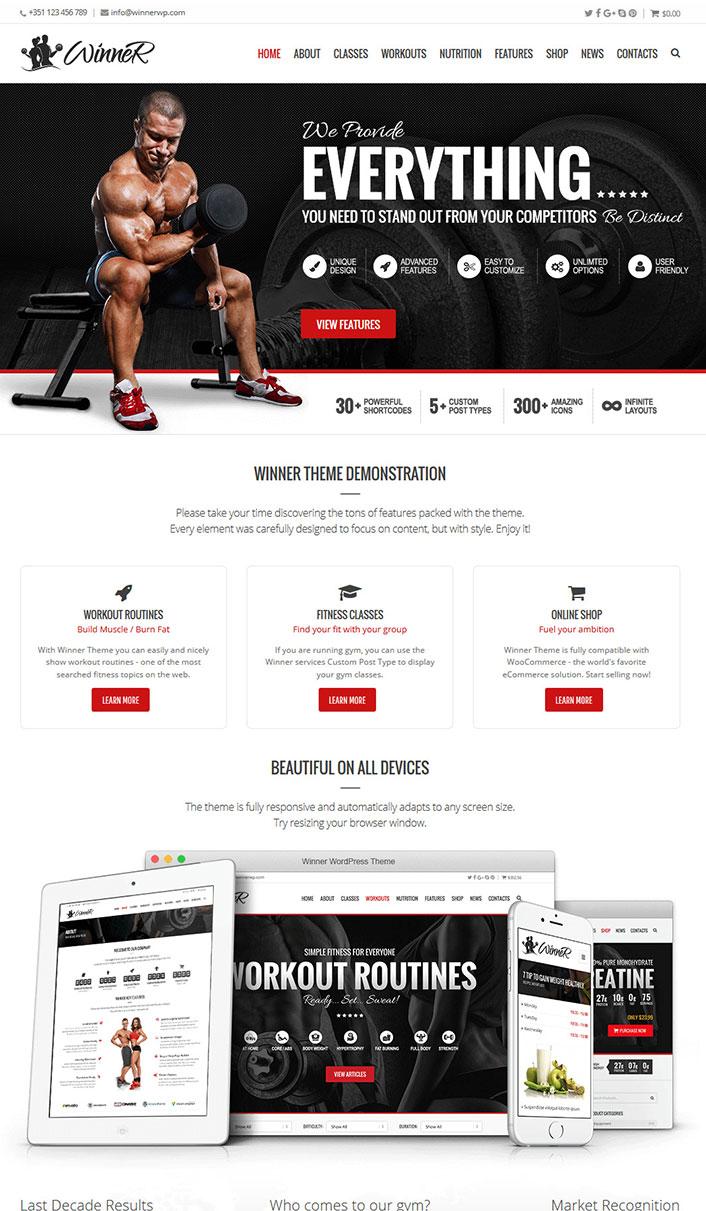 Ganador - Un tema de WordPress para gimnasio, Fitness y Deportes ...