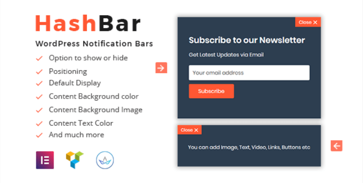 Hashbar pro wordpress notification bar
