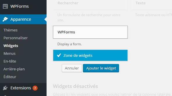 WPForms plugin WordPRess widget
