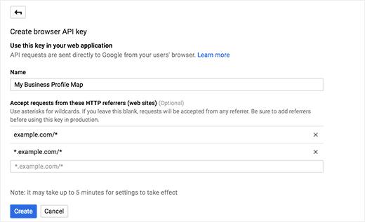 Adicionando domínio do Google