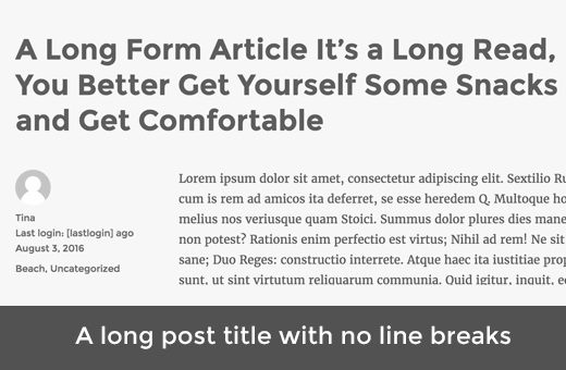 article WordPress avec un long titre