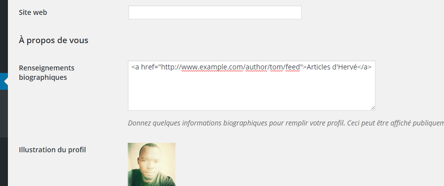 bio utilisateur WordPress