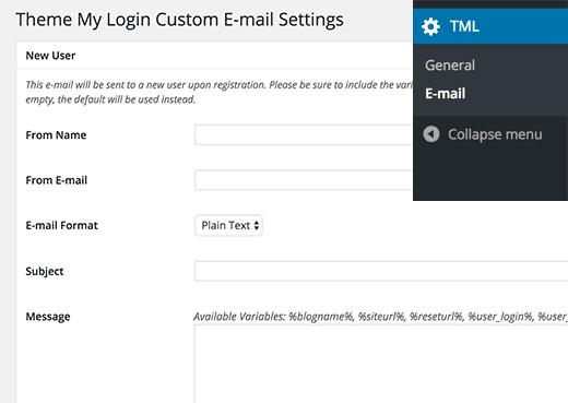 E-posta yapılandırma TML WordPress eklentisi