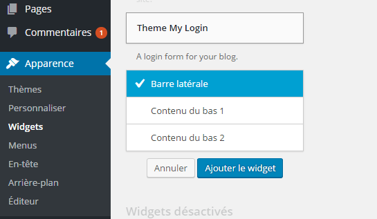 configuration widget TML WordPREss