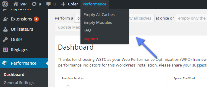 menu accessible WordPress W3TC