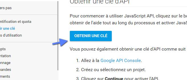 obtention d'une clé API