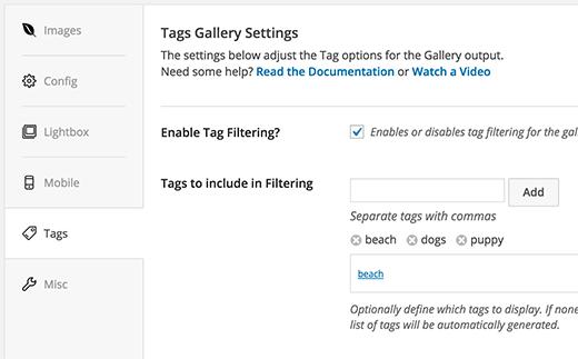 option de filtre WordPress