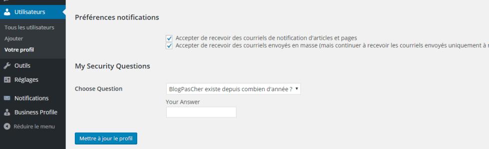Configurações de perfil para as notificações
