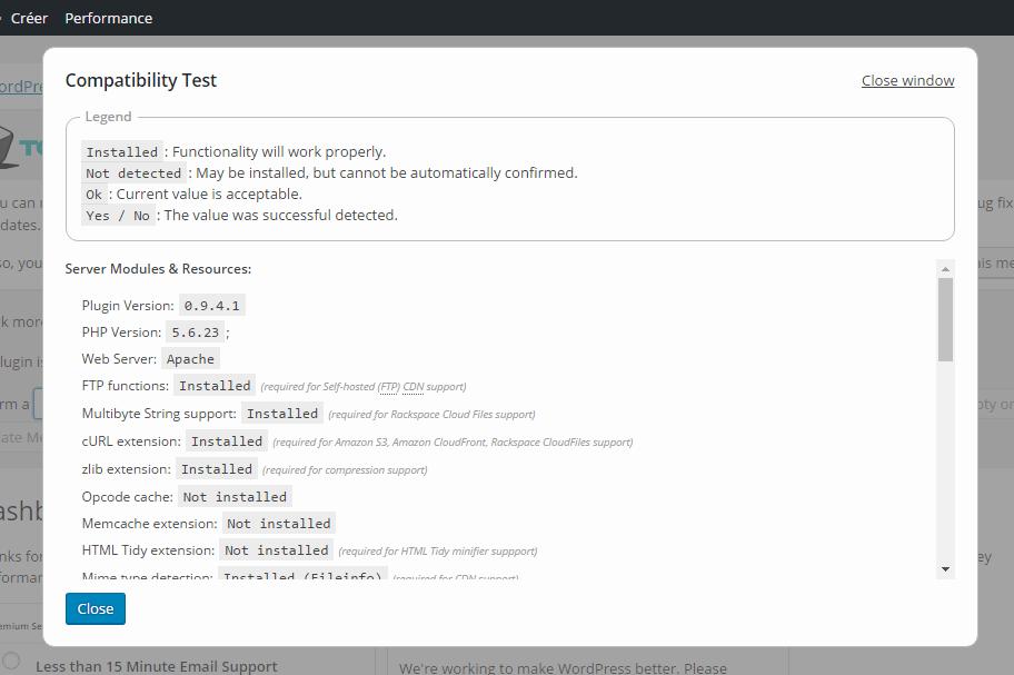test de compatibilité WordPress W3TC