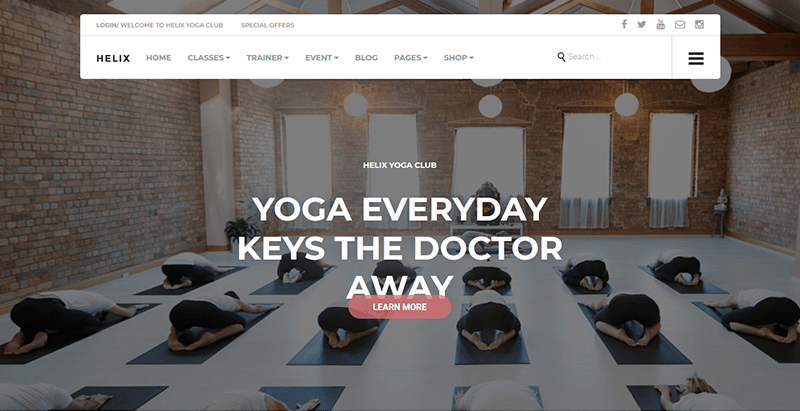 Helix Yoga Club Wordpress Theme