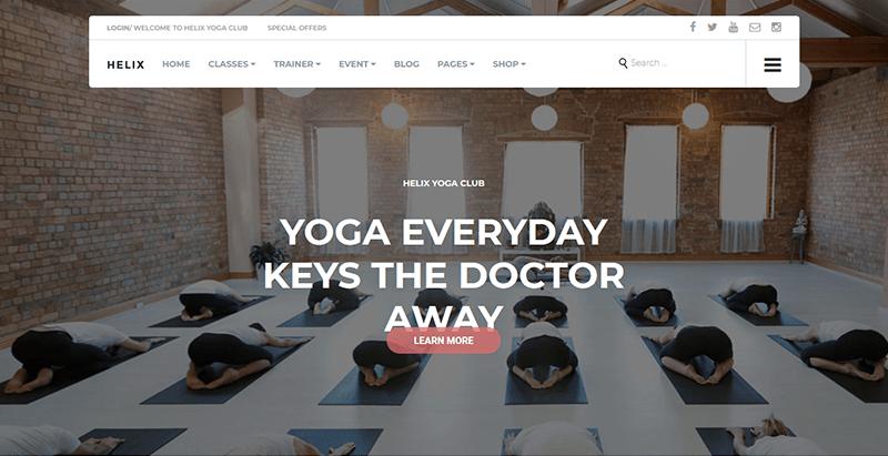 Helix yoga club wordpress theme