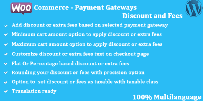 Woocommerce payment gateways discount and fees