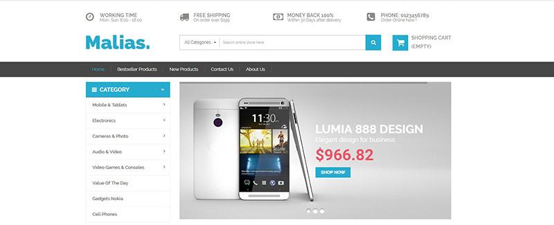 Malias-тема-PrestaShop-продажа-продукция-электронно-blogpascher