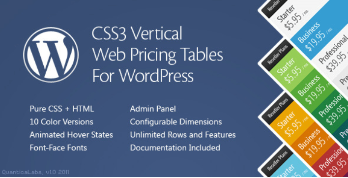meilleurs plugins WordPress - Css3 vertical web pricing tables for wordpress