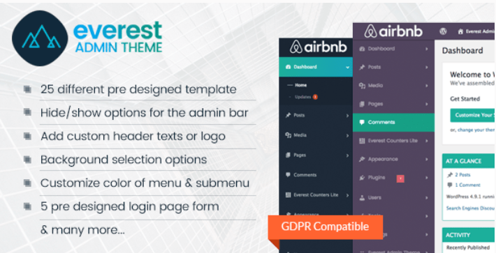 Everest admin theme wordpress backend customizer