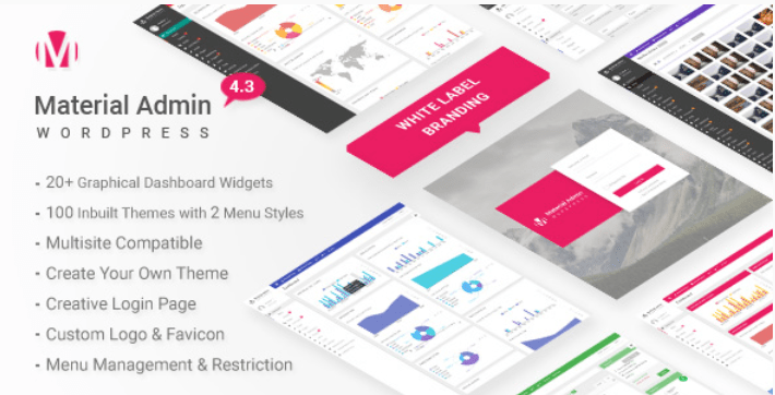 Material white label wordpress admin theme