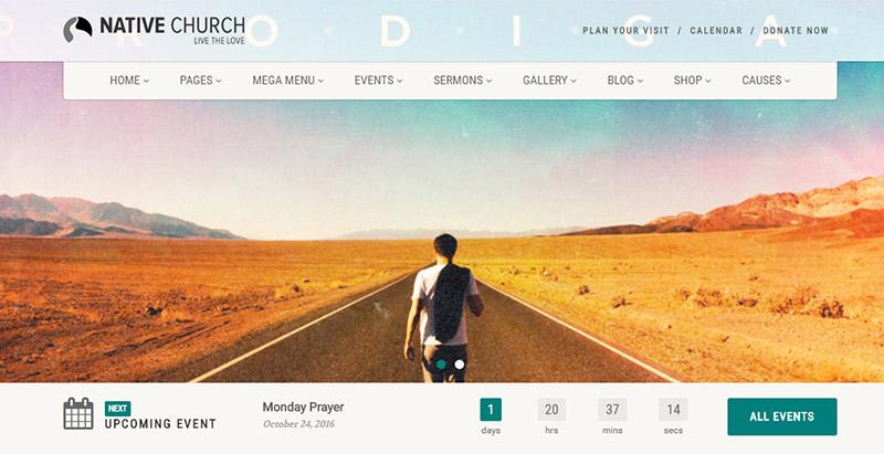 thèmes WordPress pour créer un site web d'église - native church