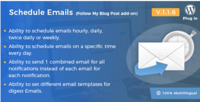 Programar e-mails siga meu blog post wordpress plugin