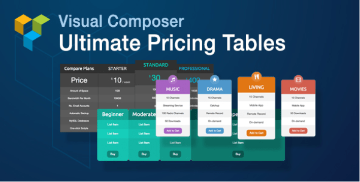 Visual composer ultimate pricing tables add on