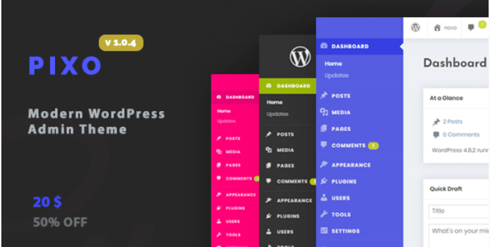 Wordpress admin theme pixo 1