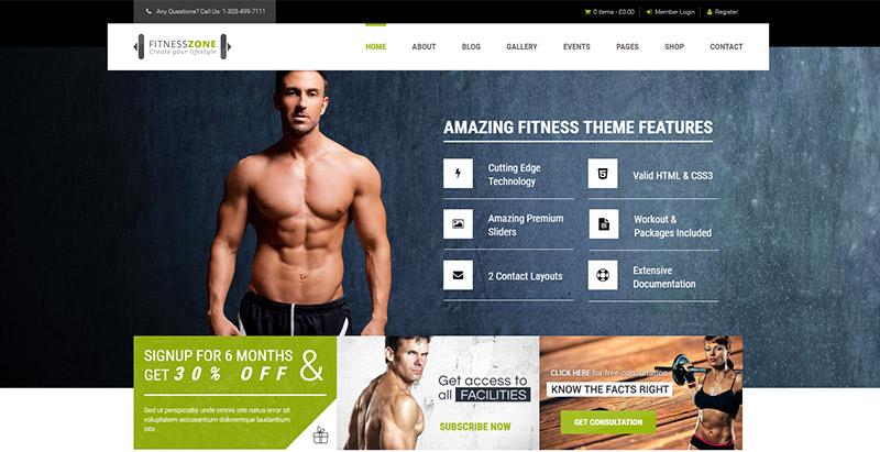 Fitness zone themes wordpress creer site internet club sport gymnaste fitness