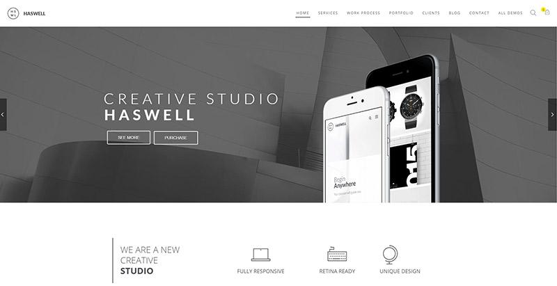 Haswell-10-temas-wordpress-criar-web-site-agência de marketing