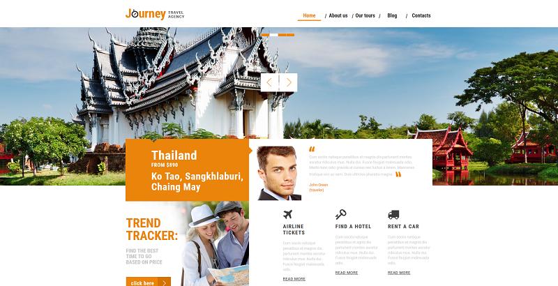 thèmes WordPress pour créer un site web de tour-opérateur - Journey travel agency