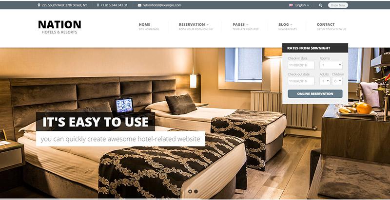 Нация-отель-тема-WordPress создать сайт-интернет-отель-мотель