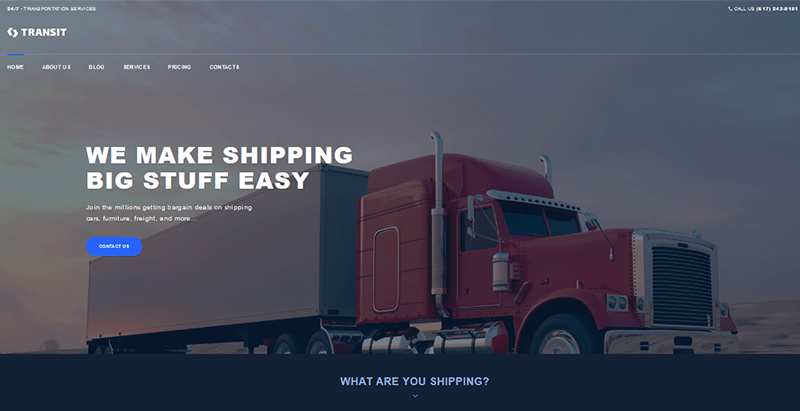 Transit theme wordpress creer site internet transport logistiques