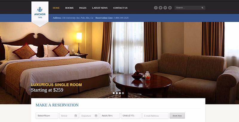 Anchor inn theme wordpress creer site web hotel auberge motel