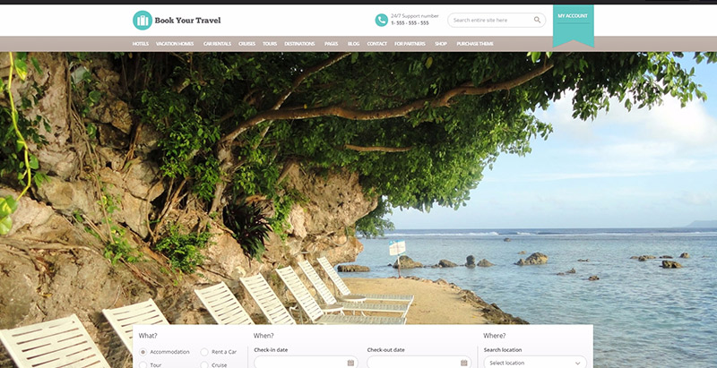 Book your travel theme wordpress creer site web hotel auberge motel