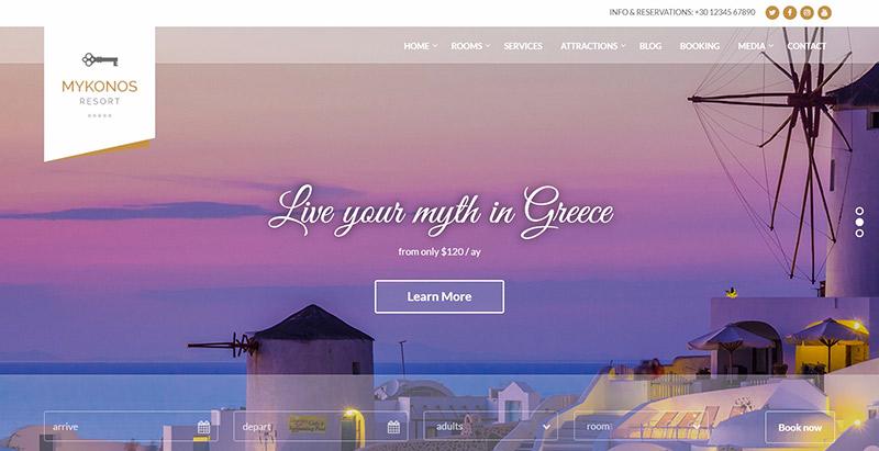meilleurs thèmes WordPress d'hôtel - Mykonos resort