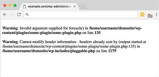 Erreur plugin wordpress