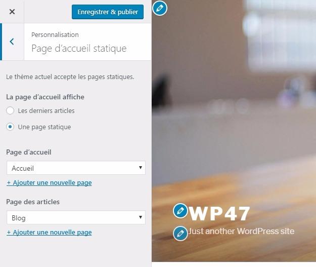 Page daccueil statique wordpress
