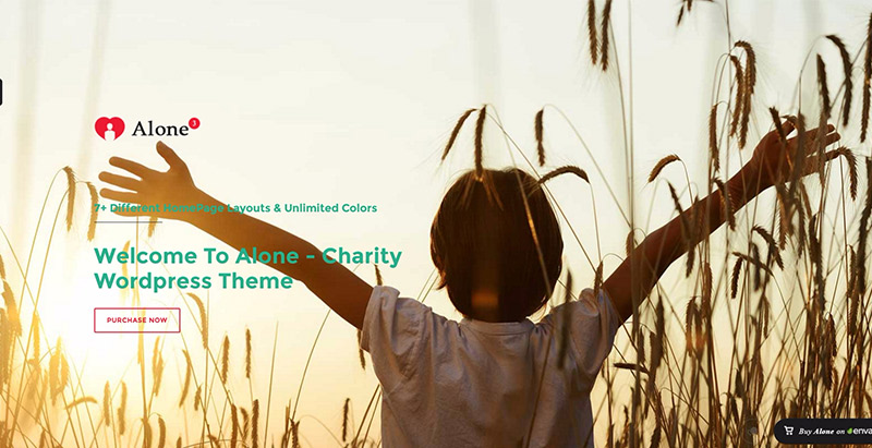 Alone themes wordpress creer site web ong humanitaire