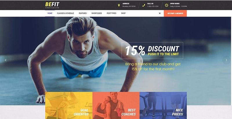 Befit themes wordpress creer site web club fitness