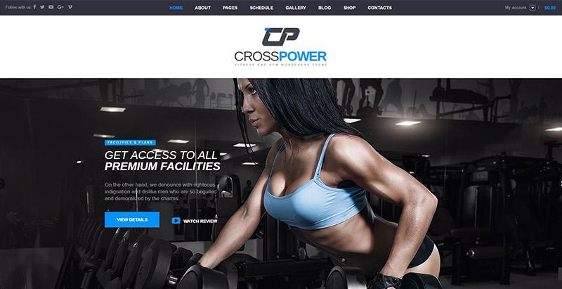 Crosspower themes wordpress creer site web club fitness